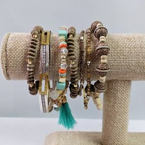 8 Stretch Bracelets In Earth Tone and Turquoise